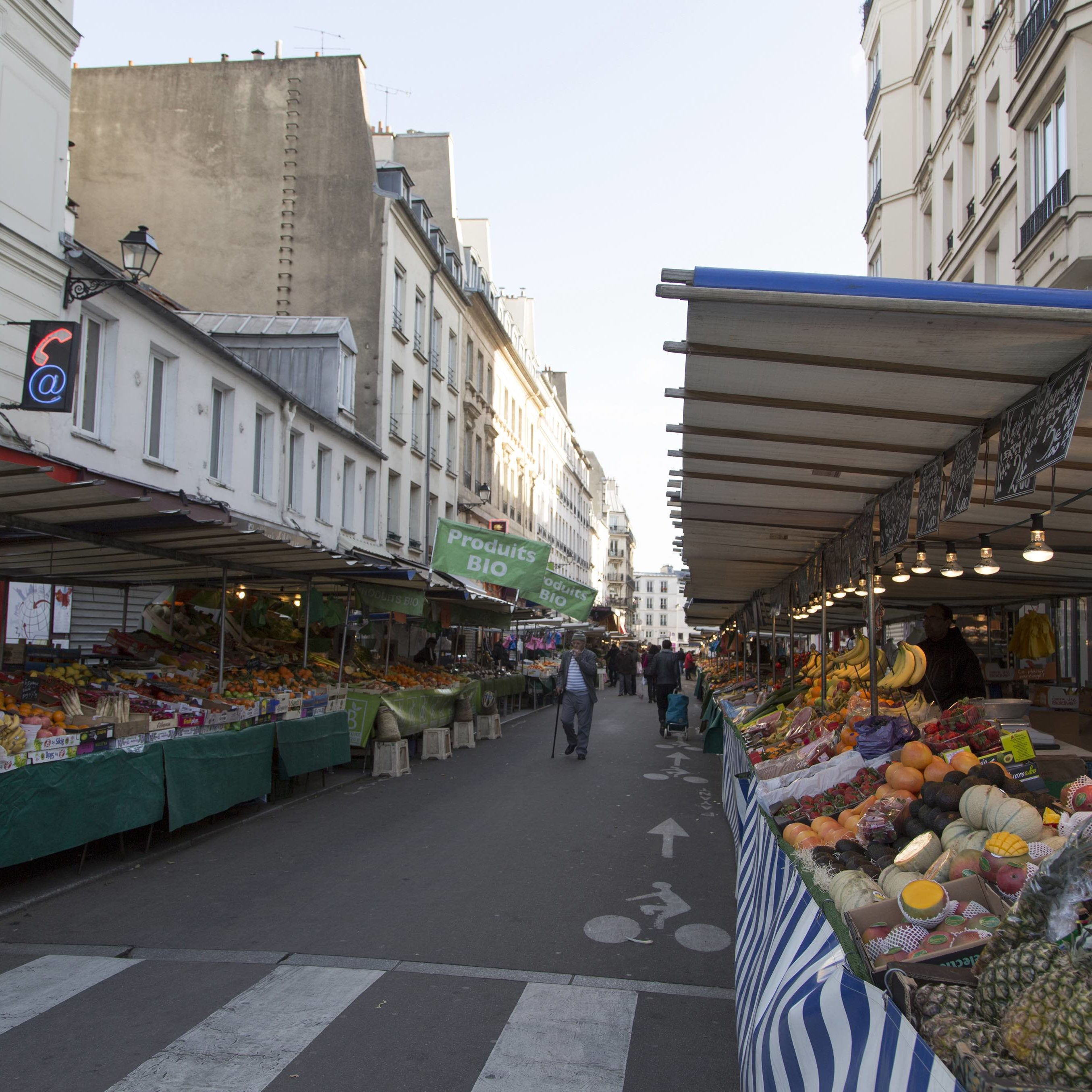 Sarah Shops at the Aligre Market, Paris, France during filming of Episode 107 for UpRooted